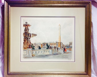 Vintage Watercolor Paris Scene by Herbelot