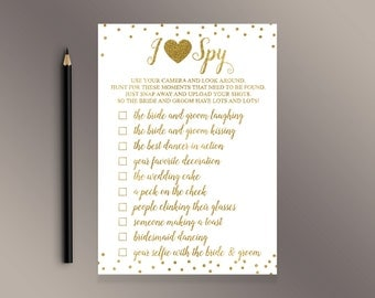 I Spy Wedding Game, Wedding Activities, Gold confetti Wedding Reception table cards, Funny Wedding Games, Wedding Activity, Scavenger Game