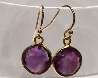 Earrings gold filled 14K quartz purple round set with easy-to-wear gift girl gift woman loops delicate birthday present