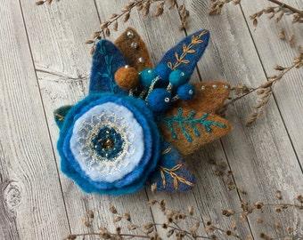 Felted brooch Blue dog-rose - Handmade brooch -  Felted pin - Felted brooch - Accessory - Gift for her - Blue brown brooch - Blue flower