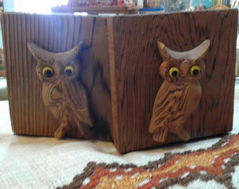 Vintage 1970s Wood Owl Bookends - OMC Japan