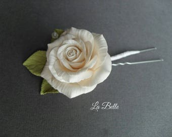 Hairpin with a rose from polymer clay