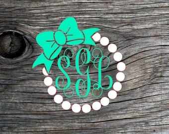 Bows and Pearl monogram, monogram decal, jeep decal, southern decal, truck decal, car decal, yeti cup decal, ozark trail cup decal, vinyl