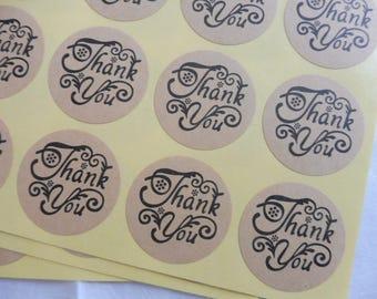 "Etichette/labels 36 pezzi/piece 3 fogli set ""Thank you"" in carta kraft"
