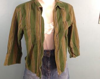 Green blouse, striped blouse, zipper front blouse, size S, three quarter sleeve blouse, lightweight jacket, cotton blouse,