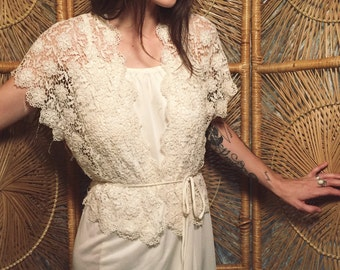 Vintage Delicate Floral Crochet Top & Cream Dream Dress / Bridal Dress Size Small or Extra Small