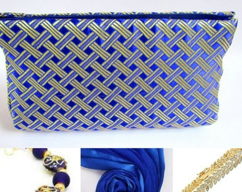 Gold and Royal Blue Silk Brocade Statement Clutch,  Classy Chinese Brocade Clutch Bag,  Blue & Gold Purse Prom Purse, Gifts for Wife/Mother