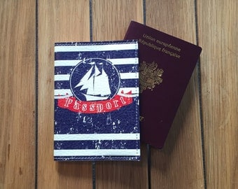 Leather - case ship blue passport cover