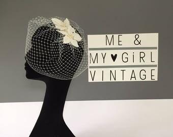 Lace birdcage veil, Birdcage veil, Vintage veil, Flower birdcage, Wedding birdcage veil, Birdcage Veil Bride, Short Veil, 1950s Style Veil
