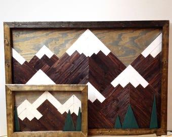 Mountain mosaic, mountain wood wall art, mountain woodscape, mountain art, lodge art, mountain wall art, mountain range, wall art, mountain