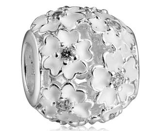 Flower Charm Bead, Pink or White Enamel, Rhinestones, 925 Sterling Silver Plated Jewelry, For Charm Bracelets