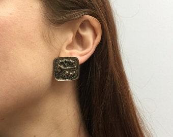 vintage unusual silver metal 70s 80s art earrings