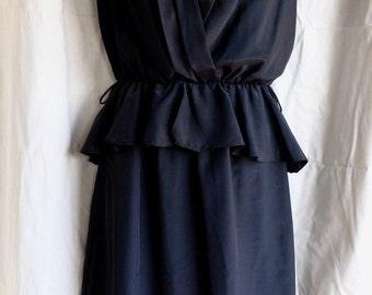 Black 1980s Peplum dress