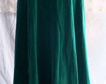 Vintage maxi emerald green velvet 1940s style 8 gore skirt