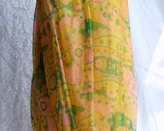 1960s Vintage nylon chiffon, yellow, mini, dress, mod, london, carnaby street