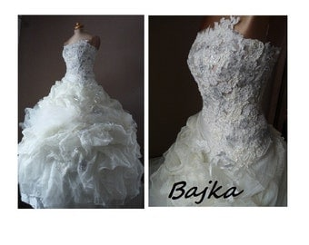 Lace,Organza and tulle  wedding dress,BAJKA