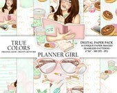 Planner Girl Digital Paper Pack Planning Fashion Illustration Planner Stickers Supplies Seamless Watercolor Blue Pink Coffee Mug Background