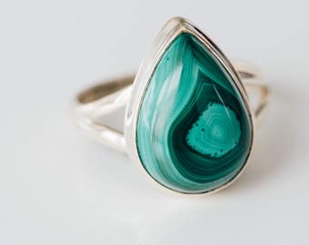 All Natural Malachite • solid sterling SILVER • Graphic • Ring • Size 10