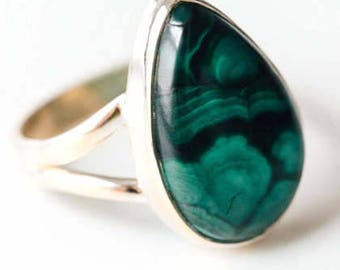 All Natural Malachite • solid sterling SILVER • Graphic • Ring • Size 9