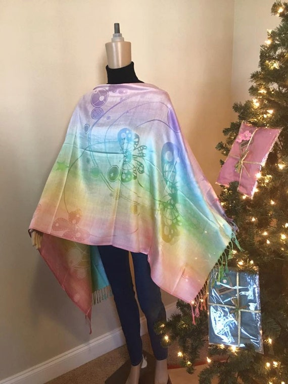 Rainbow and Butterfly themed Scarf! High Quality Pashmina 100% Cashmere