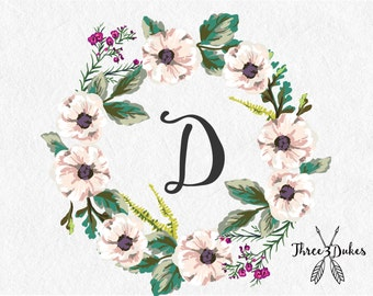 Floral Monogrammed Wreath