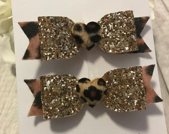 Handmade leopard print hairbows - gold glitter hairbows - girls hairbows - hair clips - set of 2