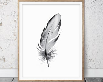 Feather, Feather print, Fearther art, Grey feather print, Feather wall art, Black and white decor, Feather printable, Printable art, 076