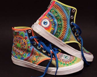 Custom handpainted shoes custom kicks custom sneakers custom trainers custom vans custom converse trippy shoes psychedelic clothing