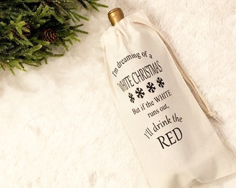 White Christmas wine bag - Christmas Wine bag - Wine Gift for Her - Wine Gifts For her - Holiday Wine bag - Hostess Gift - Wine Bottle Bag