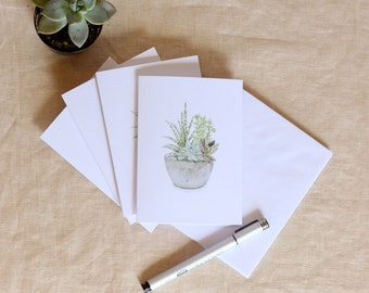 Blank Cards, Greeting Card Set, Watercolor Card Set, Hostess Gift, Gift for Mom, Watercolor Cards, Succulent Card, Cactus Set, Thank You