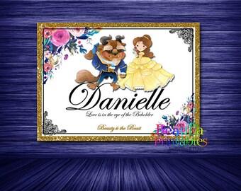Custom Name Print, Beauty and the Beast Theme, Monogram Name Print, Girls Name Print, Printable Wall art, Digital Download