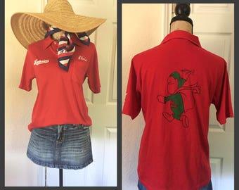 Vintage red Budweiser Shirt with Budman size Medium