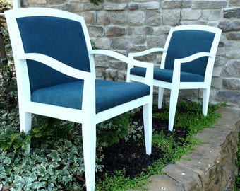Teal & White Accent Chairs