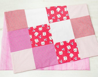 Personalized Baby Girl Blanket || nursery quilt, pink crib blanket, patchwork, custom made