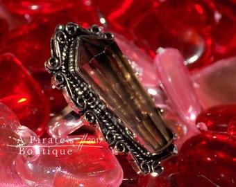 Smoky Quartz Gemstone, Sterling Silver Ring Size 8.5