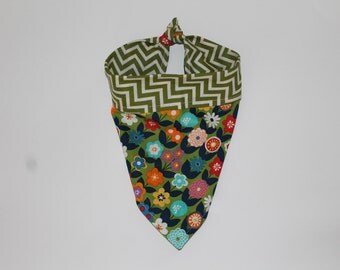 Dog Bandana - Colourful Floral and Green/White Chevron in reversible cotton