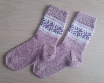 Hand made knitted socks, women, size 37-39 (6.5-8 US), wool, acrylic, mohair, lilac, white, pink colors