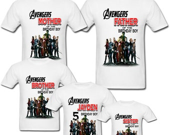 Personalized Avengers Birthday shirt for Family