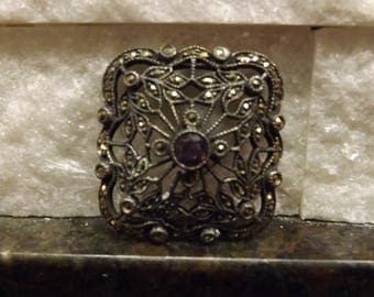 Vintage Marcasite and Sterling Pin