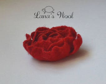 Felt wool jewelry Red flower brooch  Gift for her mom doughter Felt flower pin woman girl gift Eco friendly floral pin brooch felt