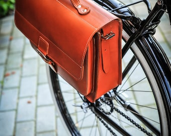 Leather bicycle bag, bicycle pannier, bicycle shoulder bag, bicycle satchel, bicycle briefcase, gifts for cyclists, leather pannier