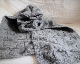 Wool Scarf for Adult Gray Knitted Hand