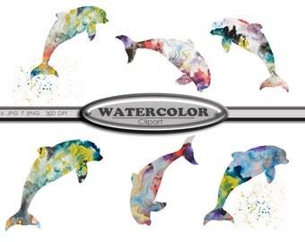 Clip Art Watercolor Dolphin Clip Art Digital Download