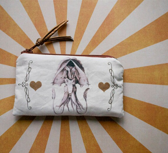 Magnificent Squid Pouch - Lined Zip Zipper Purse - Zoology Marine Life - Ocean Creature in Copper -one of a kind Handmade in USA Moth & Rust