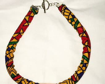 Multicolored Afro-printed Copper Rope Necklace