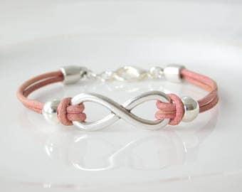 Infinity bracelet leather silver plated Vintage Rosé