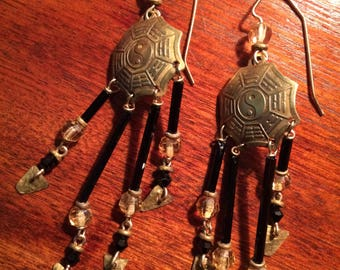 Solid Brass Antique Chinese Yin and Yang Dangle Earrings