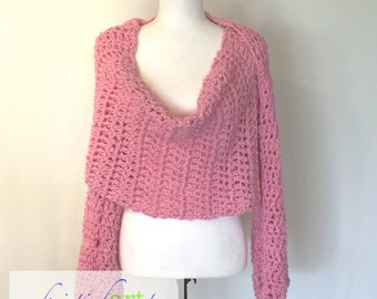 Pink Sweater Wrap / Handmade Crochet / Women's Gift Idea / Soft / Warm / Acrylic / Large / XLarge