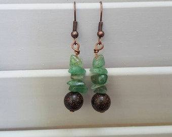 Lotus Seed and Aventurine Earrings