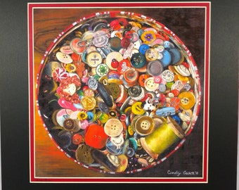 """Print of Original Oil Painting """"Button Box"""" by Candy Aaron, Sewing Buttons"""
